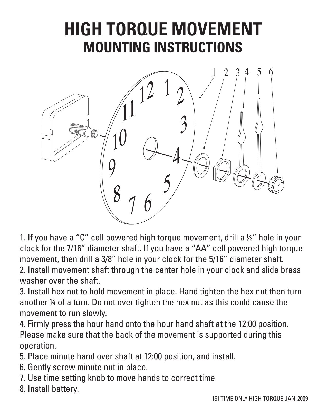 quartz clock movement kit instructions